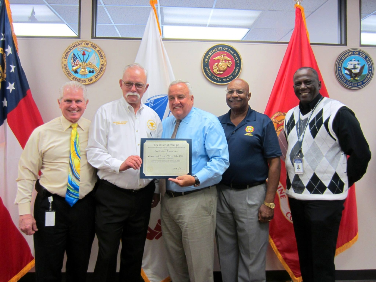 September 28, 2017. Pictured from left: GDVS Assistant Commissioner George Canavaggio, VFW Department of Georgia Commander Richard Attaway, GDVS Commissioner Mike Roby, VFW Senior Vice Commander Tony Dobbins, and GDVS Atlanta office manager and VFW State Judge Advocate/Service Officer Joel Willis