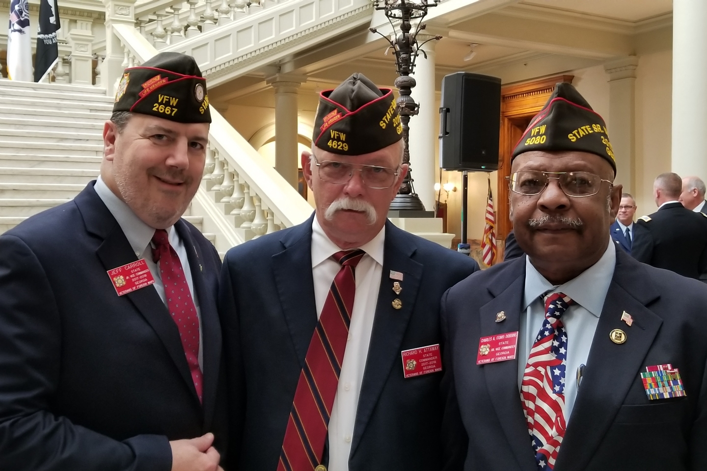 November 6, 2017 - Atlanta. L-R State Jr Vice Commander Jeff Carroll, State Commander Richard Attaway, State Sr Vice Commander Tony Dobbins at the State Capitol.