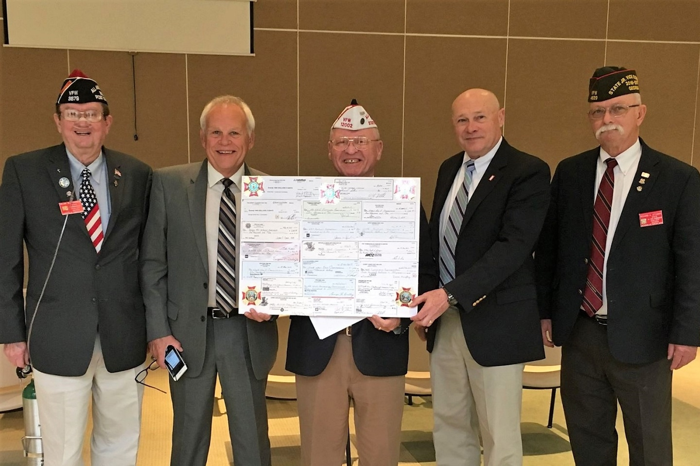 March 23, 2017 - (L-R) VFW State Commander Bill Sandberg, Commission and VFW member Rick Elder, Past GA VFW Commander Al Lipphardt, (identify), VFW State Jr Vice Commander Richard Attaway.